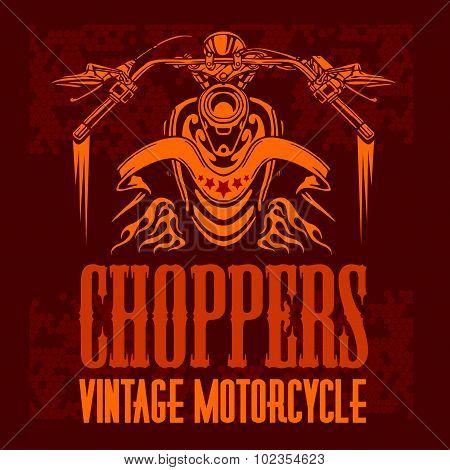 Vintage bikers badge. Retro chopper bike elements. Vector illustration. poster