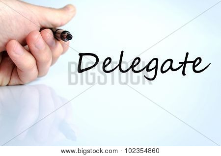 Delegate text concept isolated over white background poster