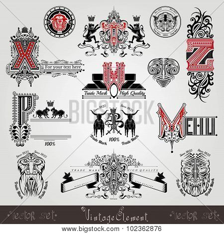 set vintage heraldic labels and capital letter with pattern and animals