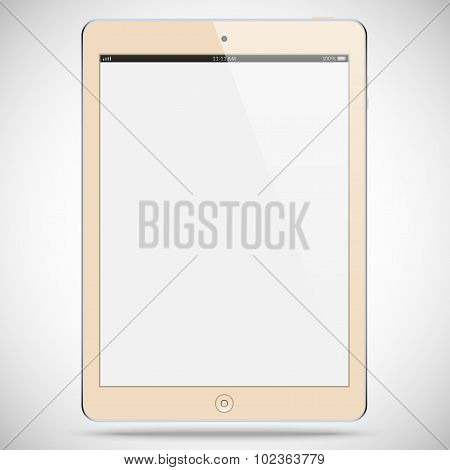 Realistic Detailed Biege Tablet With A Gray Touch Screen Isolated On A Gray Background