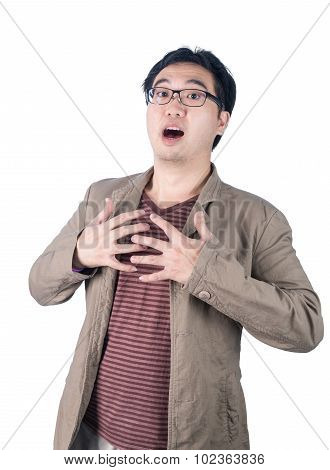 Asian Businessman Heartache, Pressing On Chest, Heart Attack, Isolated On White Background