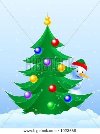 Christmas Tree & Snowman Peeking