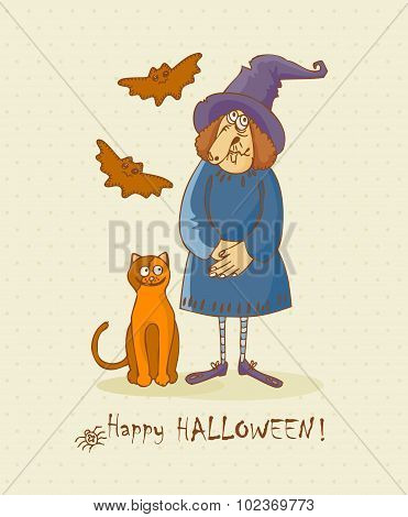 Halloween greeting card in doodle style