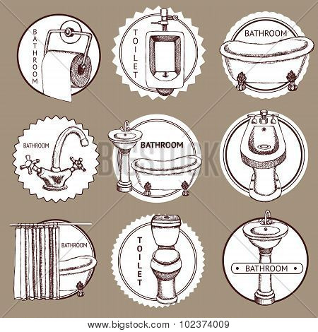 Sketch Set Of Logo With Bathrom And Toilet Symbols