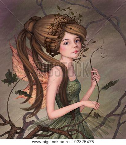 Little Fairy In A Green Dress