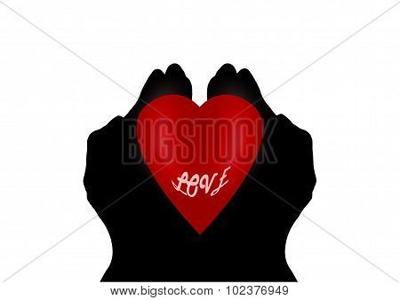 Heart In Cupped Hands Silhouette On White