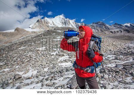 Hiker on the trek in Himalayas Manaslu region Nepal