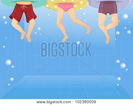 Illustration of Kids Wearing Floaters Swimming in a Pool