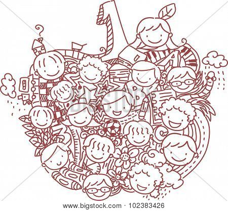 Stickman Illustration of School Kids Forming the Shape of an Apple