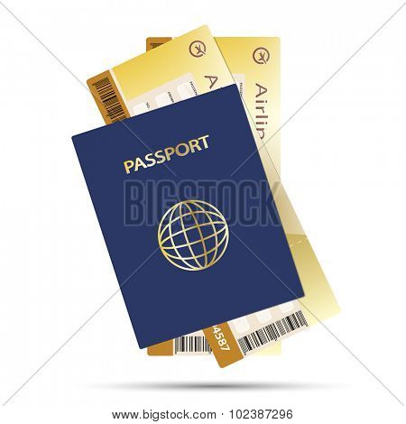 Passport and Airline Ticket isolated on white background. Illustration Vector EPS10