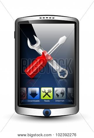 Smartphone With Menu And Tools Icon On The Big Touch Screen. Vector Illustration