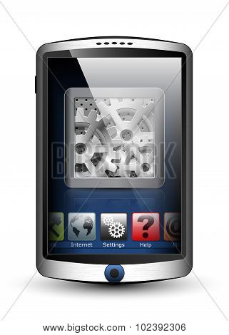 Smartphone With Menu And Settings Icon On The Big Touch Screen. Vector Illustration