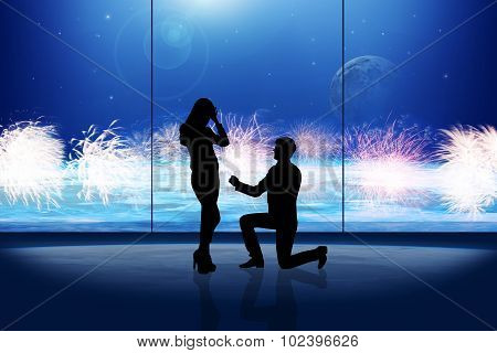 silhouette of man makes a proposal a silhouette woman in space room poster