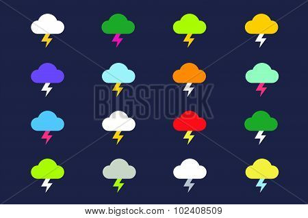 Attention warning cloud sign icons set