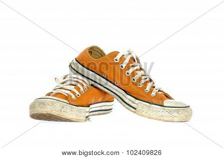 Vintage Orange Shoe On White  Background