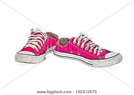 Vintage Pink Shoe On White  Background