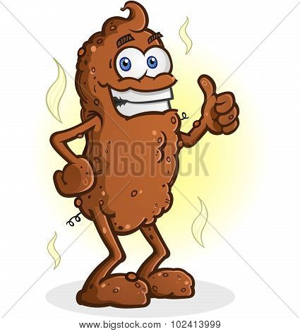 Poop Cartoon Character Standing Thumbs Up