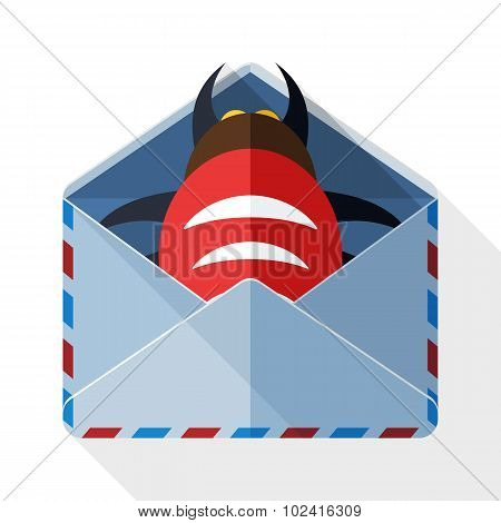 Infected email icon with long shadow on white background poster