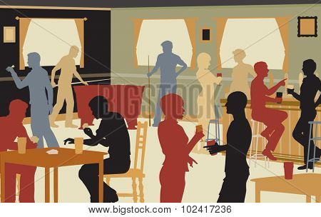 EPS8 editable vector cutout illustration of people drinking in a busy bar and enjoying typical pub games
