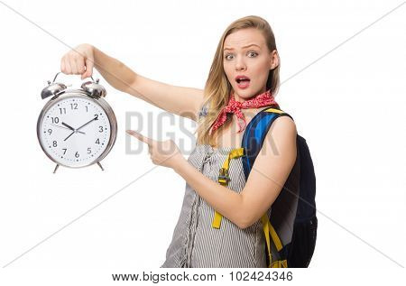 Woman student missing deadlines isolated on white