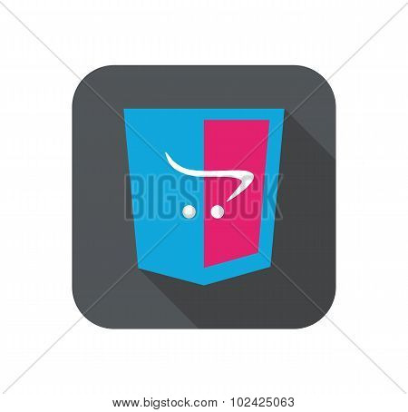 Vector web development shield sign - html5 cart e-commerce. isolated icon on white