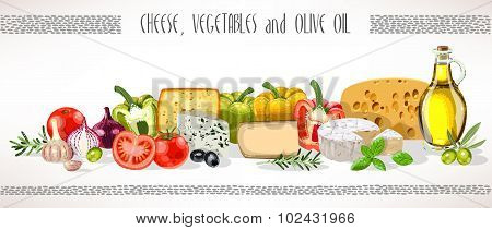 Olive Oil, Vegetables And Cheese Composition