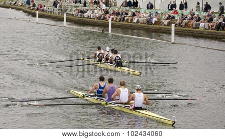 HENLEY, ENGLAND. 02-07-2010.  Leander Club & Durham University lead  Molesey B.C. on day 3 of the Henley Royal Regatta 2010 held on the River Thames.