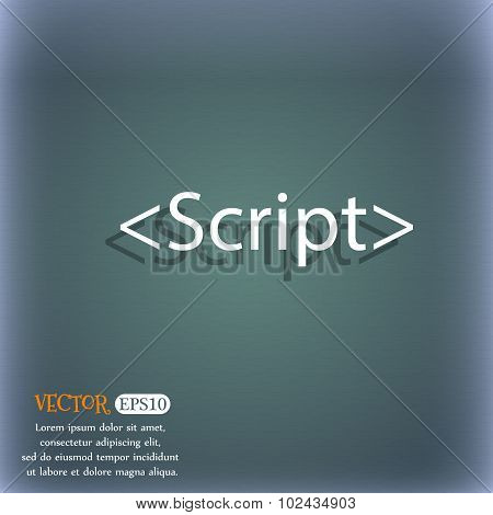 Script Sign Icon. Javascript Code Symbol. On The Blue-green Abstract Background With Shadow And Spac