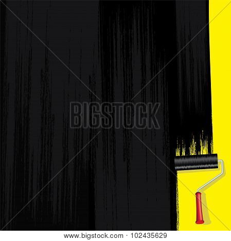 Black Paint on Wall. Vector Design Image