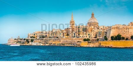 scenic View of Marsamxett Harbour and Valletta in Malta