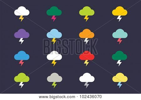 Attention warning cloud sign icons set. Warning vector icons. Warning antivirus logo. Exclamation mark. Hazard warning symbol. Weather storm warning symbols.  Warning, attention, stop, electric, cloud