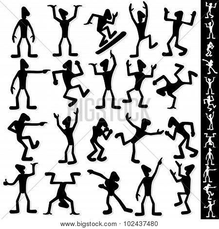 Funny Cartoon Guy Silhouette. Vector Set