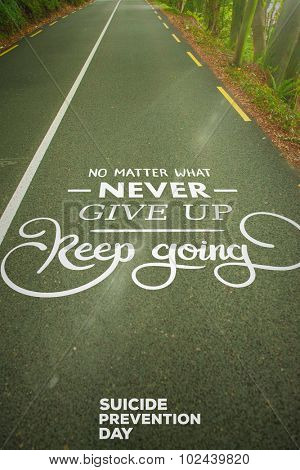 Suicide Prevention Message against country road