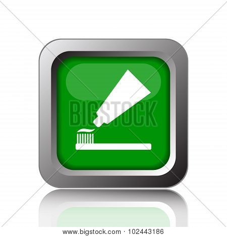 Tooth paste and brush icon. Internet button on white background. poster