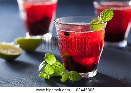 refreshing blueberry drink with lime and mint poster