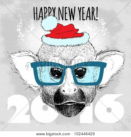 Squirrel monkey Hipster with blue glasses and Christmas hat.