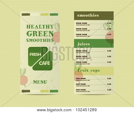 Organic, green cafe menu vector concept. Fresh elements for cafe or restaurant with energetic fresh