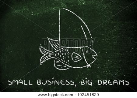 Small Fish Wearing A Fake Shark Fin, Concept Of Having Big Dreams