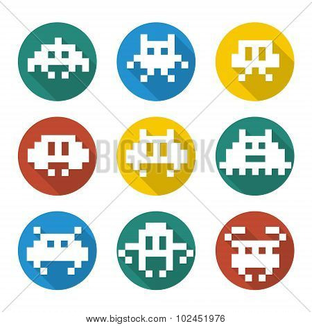Videogames Icons retro pixel art monsters vector poster