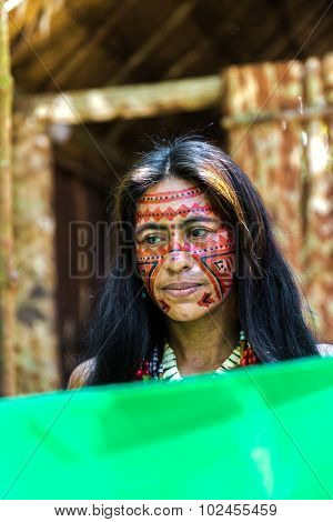 Native Brazilian woman at an indigenous tribe in the Amazon