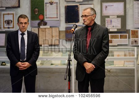 ST. PETERSBURG, RUSSIA - SEPTEMBER 18, 2015: Director of Institure of History Nikolay Smirnov delivers opening remarks in the exhibition