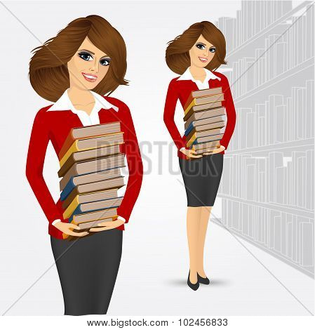 librarian holding stack of books
