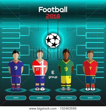 Football Players Scoreboard. Vector digital illustration. Soccer tournament sheet. Visual graphic presentation. Japan Serbia South Africa Spain Teams. poster