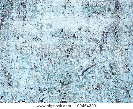 Aged Metal Surface Painted By White And Blue Colors