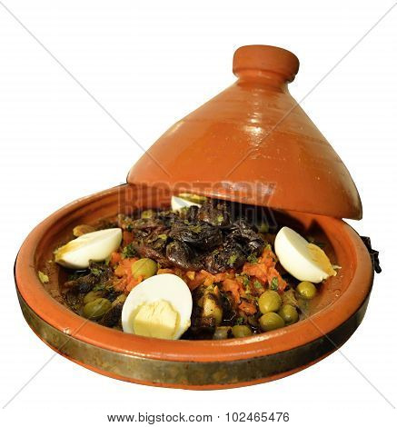 Moroccan dish served in a traditional tagine pot