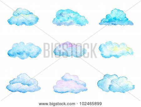 Set Of Bright Blue Watercolor Clouds, Isolated On White