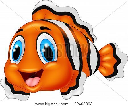 Cute clown fish cartoon posing