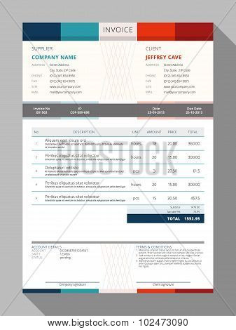 Vector Customizable Invoice Form Template Design. Vector Illustration poster