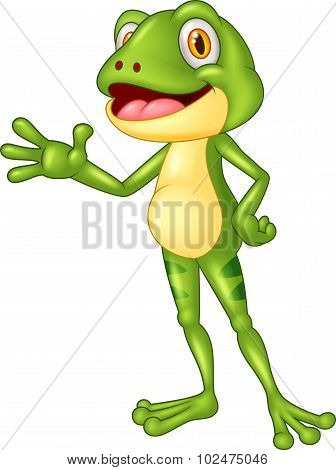 Cartoon adorable frog waving hand