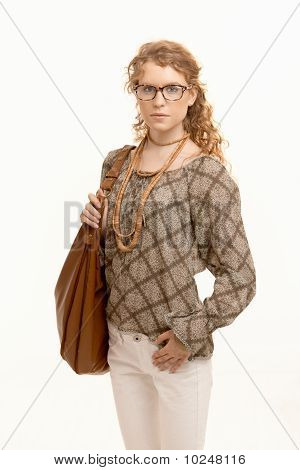 Attractive Woman Wearing Glasses Going To Work